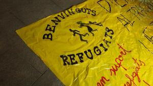 Detall de la pancarta que han desplegat els manifestants.