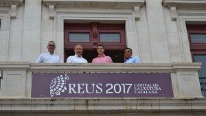 Guillem Segú durant la seva recepció a l'Ajuntament de Reus.