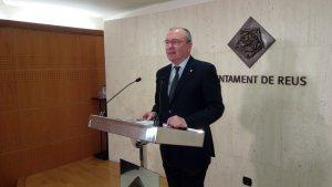 Carles Pellicer, alcalde de Reus, durant la roda de premsa de presentació de la iniciativa