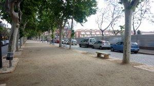 El Passeig Misericòrdia, amb el terreny que havia ocupat La Sedera a la dreta