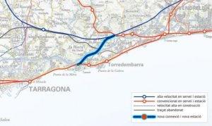 El mapa de la proposta de Pdf.camp i PTP de construir un enllaç entre la línia de tren convencional i la de TAV.