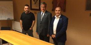 Suñé (ABG), l'alcalde Rovira (ERC) i Solé (PSC), en una imatge d'arxiu.