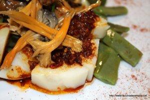 Patates amb mongeta tendra, camagrocs i allada