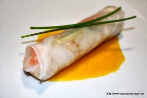 Rotllet fred de bacallà i verdures amb salsa de taronja