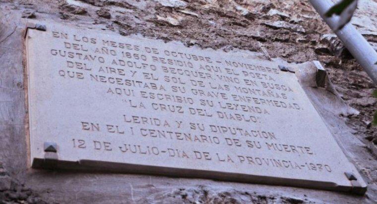 Placa que recorda on va viure Bécquer a Bellver de Cerdanya