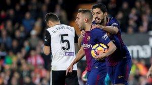 Jordi Alba carrega contra l'afició del València per la seva rebuda a Mestalla.