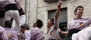 El nou cap de colla dels Minyons de Terrassa, Albert Pérez, a la dreta.
