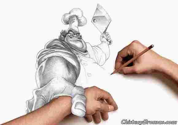Dibujo que parece alcanzar al dibujante.