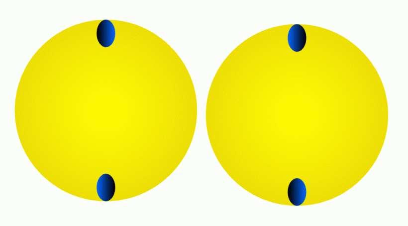 Parece que estos dos círculos giren.