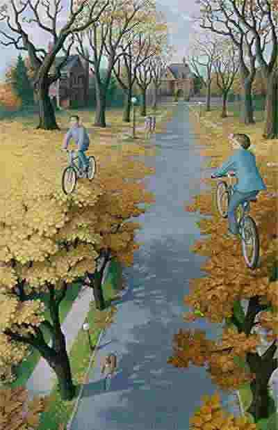 No sabemos si los ciclistas van por arriba o por abajo.
