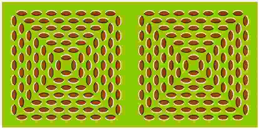 Ilusión óptica de pirámides que se expanden.