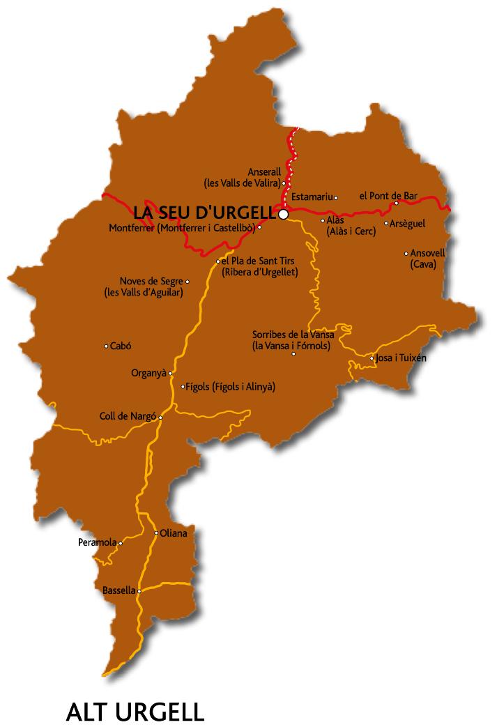 Mapa de l'Alt Urgell