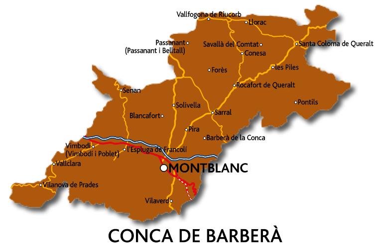 Mapa de la Conca de Barberà