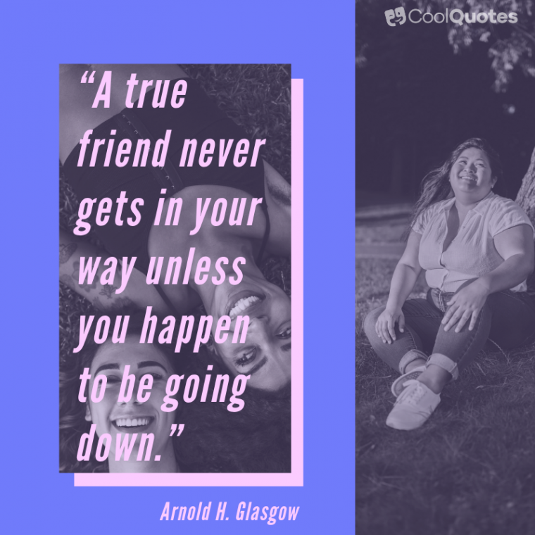 """Friend Quotes - """"A true friend never gets in your way unless you happen to be going down."""""""