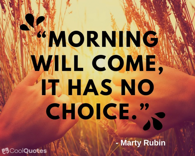 """Inspirational Morning Picture Quotes - """"Morning will come, it has no choice."""""""
