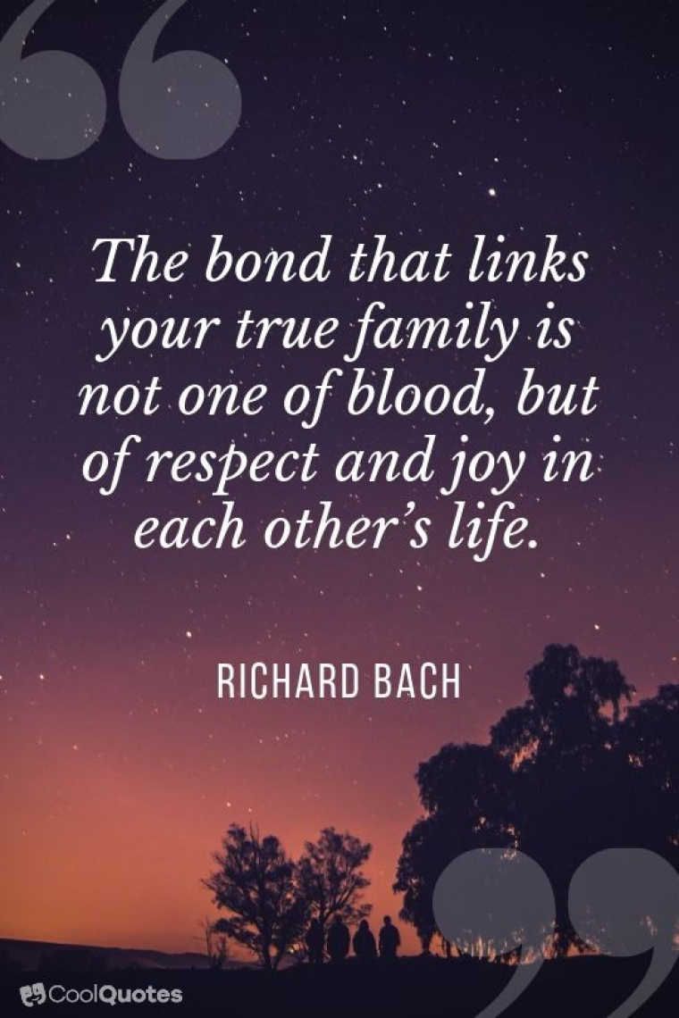 "Family Picutre Quotes - ""The bond that links your true family is not one of blood, but of respect and joy in each other's life."""