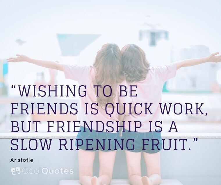 """Friendship Picture Quotes - """"Wishing to be friends is quick work, but friendship is a slow ripening fruit."""""""