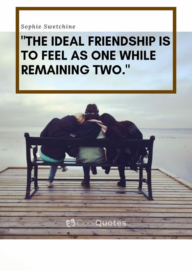 """Friendship Picture Quotes - """"The ideal friendship is to feel as one while remaining two."""""""